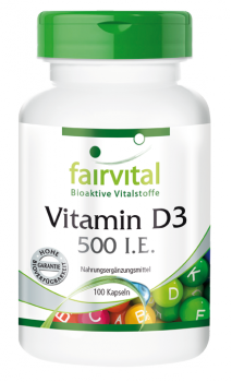 Vitamin D3 500 I.U. – 100 capsules | vital substances & healthcare products | Fairvital