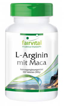 L-arginine with maca - 300 tablets | vital substances & healthcare products | Fairvital