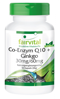 Coenzyme Q10 plus ginkgo - 90 capsules | vital substances & healthcare products | Fairvital