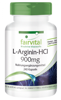 L-arginine HCl 900mg - 240 capsules | vital substances & healthcare products | Fairvital