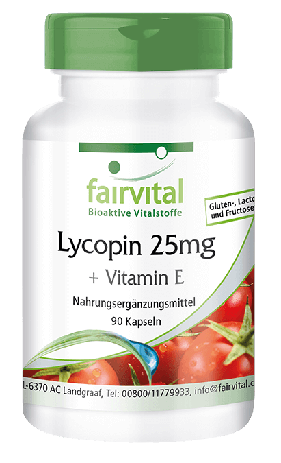Lycopene 25mg + Vitamin E - 90 capsules | vital substances & healthcare products | Fairvital
