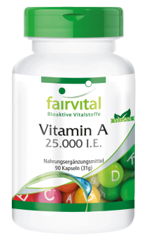 Vitamin A 25,000 I.U. - 90 capsules | vital substances & healthcare products | Fairvital
