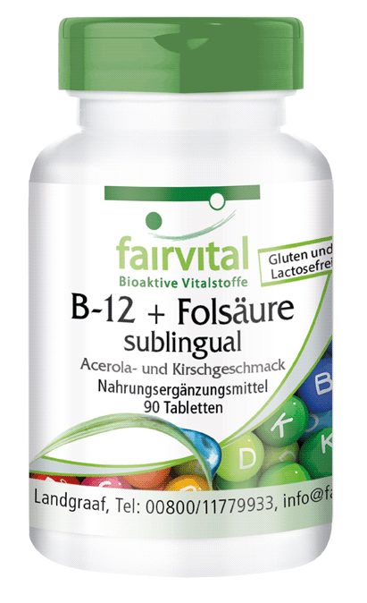 B-12 and folic acid sublingual with acerola-cherry taste – 90 tablets | vital substances & healthcare products | Fairvital