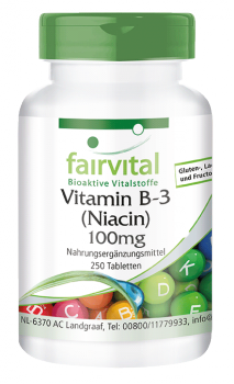 Vitamin B-3 niacin 100mg - 250 tablets | vital substances & healthcare products | Fairvital