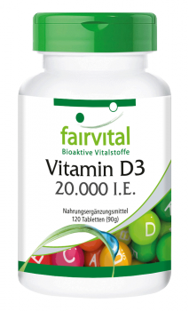 Vitamin D3 20000 I.U. - 120 tablets | vital substances & healthcare products | Fairvital