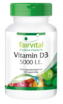 Vitamin D3 5000 I.U. – 180 capsules | vital substances & healthcare products | Fairvital