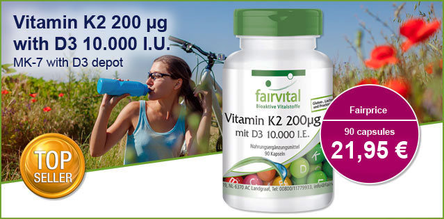 Vitamin K2 200µg with D3 10000 I.U. – 90 capsules | vital substances & healthcare products | Fairvital